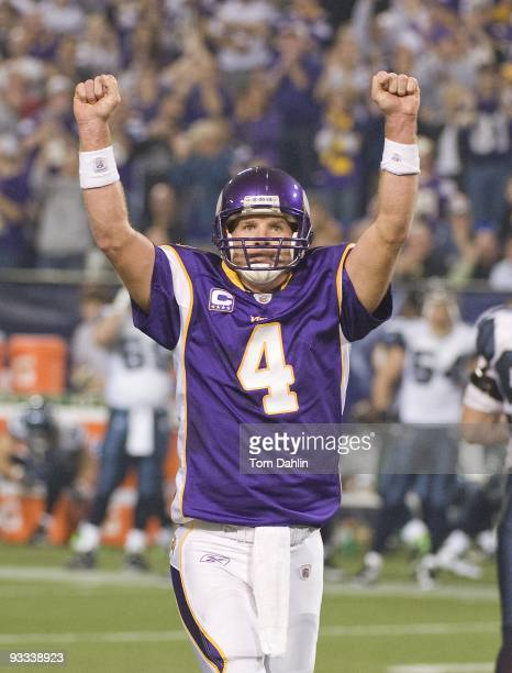 Brett Favre of the Minnesota Vikings celebrates a touchdown during an NFL game against the Seattle Seahawks at the Mall of America Field at Hubert H...