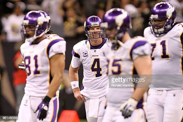 Brett Favre of the Minnesota Vikings reacts after he threw an interception late in the fourth quarter against the New Orleans Saints during the NFC...