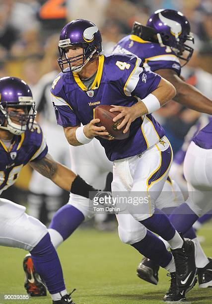 Brett Favre of the Minnesota Vikings scrambles during an NFL game against the Kansas City Chiefs at the Hubert H. Humphrey Metrodome on August 21,...