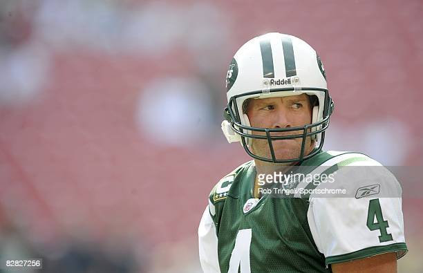 Brett Favre of the New York Jets looks on before a game against the New England Patriots on September 14, 2008 at Giants Stadium in East Rutherford,...