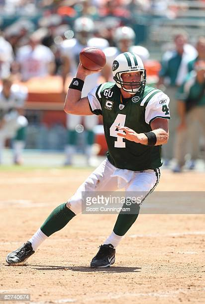 Brett Favre of the New York Jets passes against the Miami Dolphins at Dolphins Stadium on September 7 2008 in Miami Florida