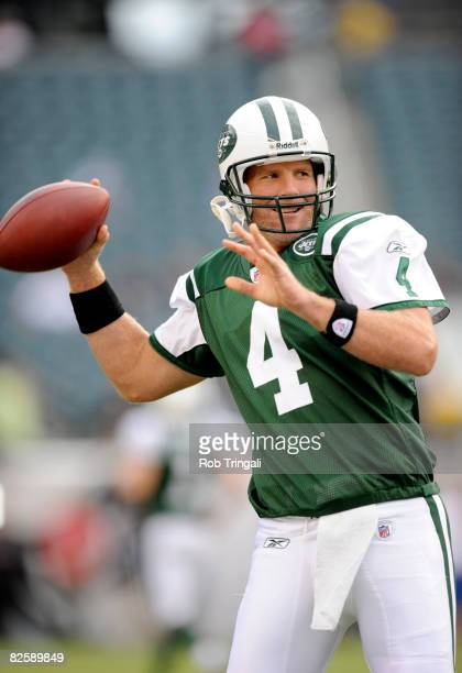 Brett Favre of the New York Jets warms up before a preseason game against the Philadelphia Eagles at Lincoln Financial Field on August 28 2008 in...