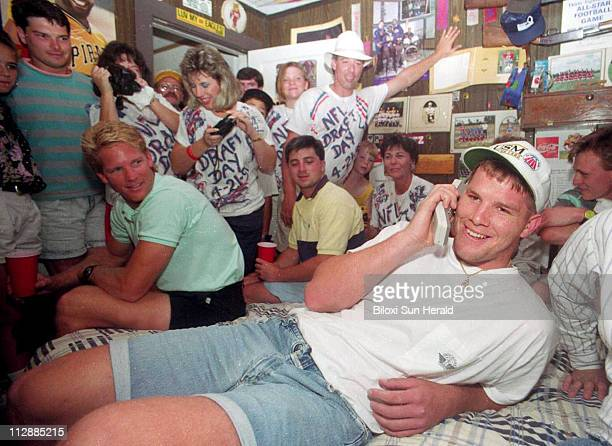 Brett Favre talks to the Atlanta Falcons from his bedroom in Fenton Mississippi on NFL draft day April 21 1991 The Green Bay Packers quarterback...