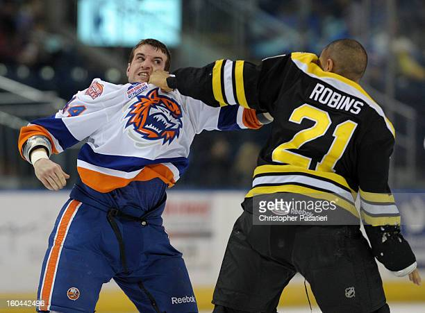 Brett Gallant of the Bridgeport Sound Tigers and Bobby Robins of the Providence Bruins fight during an American Hockey League game on January 31 2013...