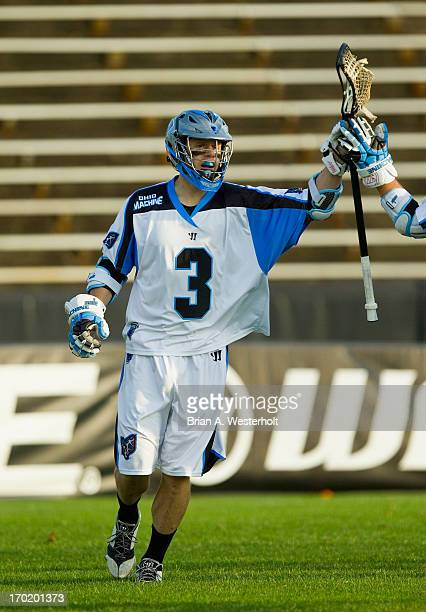 Brett Garber of the Ohio Machine celebrates after scoring a goal during first quarter action against the Charlotte Hounds at American Legion Memorial...
