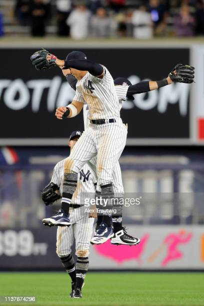 Brett Gardner Mike Tauchman and Aaron Judge of the New York Yankees celebrate after the Yankees defeated the Boston Red Sox at Yankee Stadium on...