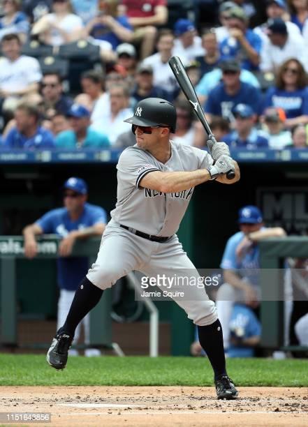 Brett Gardner of the New York Yankees bats during the game against the Kansas City Royals at Kauffman Stadium on May 25 2019 in Kansas City Missouri