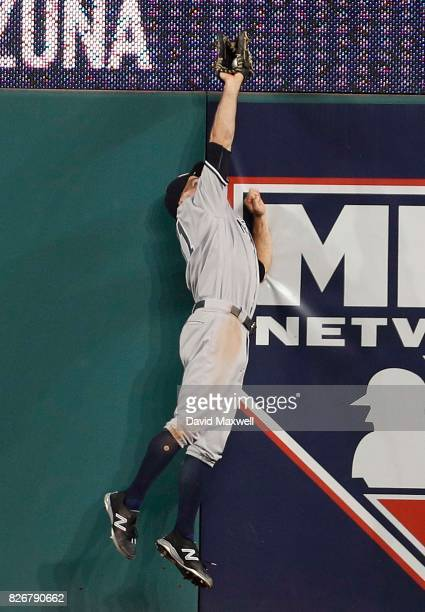 Brett Gardner of the New York Yankees catches a ball hit by Jose Ramirez in the ninth inning at Progressive Field on August 5 2017 in Cleveland Ohio...