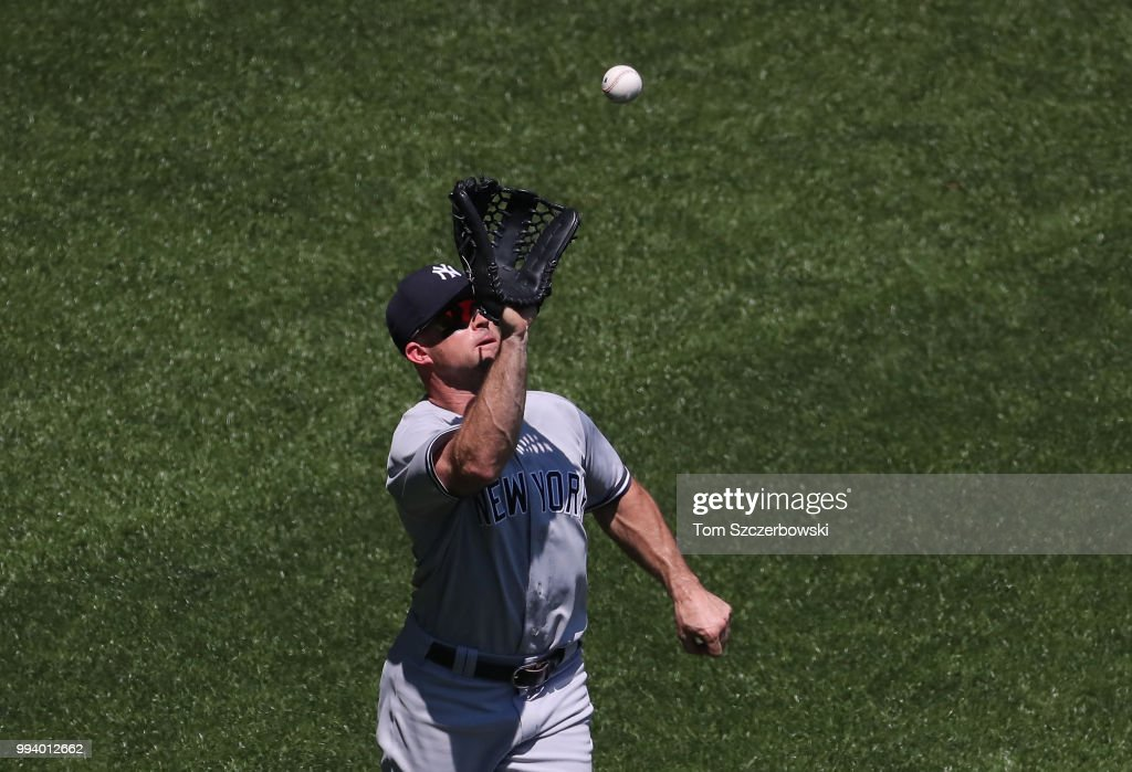 Brett Gardner #11 of the New York Yankees catches a fly ball in the fifth inning during MLB game action against the Toronto Blue Jays at Rogers Centre on July 8, 2018 in Toronto, Canada.