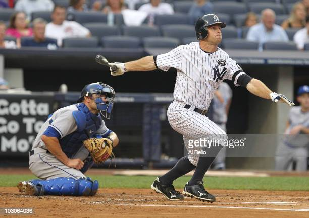 Brett Gardner of the New York Yankees doubles against the Kansas City Royals in the first inning on July 23 2010 at Yankee Stadium in the Bronx...