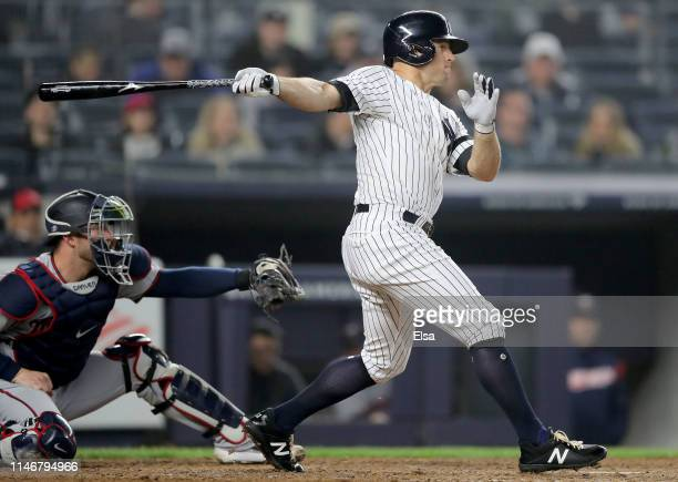 Brett Gardner of the New York Yankees grounds out in the fourth inning as Mitch Garver of the Minnesota Twins defends at Yankee Stadium on May 03,...