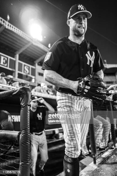 Brett Gardner of the New York Yankees leaves the dugout during the spring training game against the Philadelphia Phillies at Steinbrenner Field on...