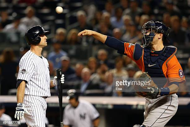 Brett Gardner of the New York Yankees reacts after being struck out by Dallas Keuchel of the Houston Astros during the first inning in the American...