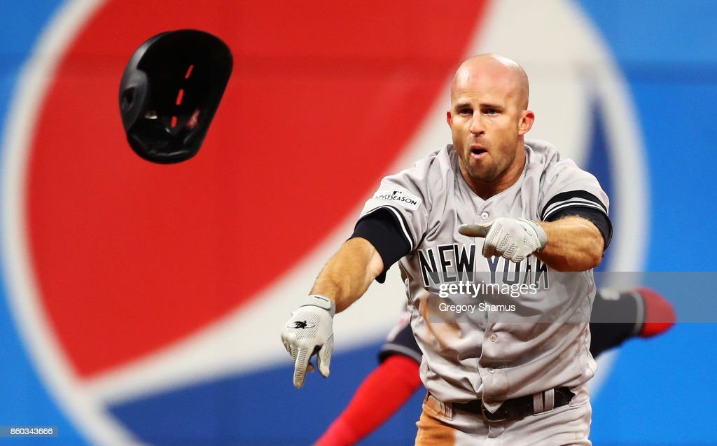 Brett Gardner #11 of the New York Yankees reacts after being thrown out at second while attempting to steal in the sixth inning against the Cleveland Indians in Game Five of the American League Divisional Series at Progressive Field on October 11, 2017 in Cleveland, Ohio.