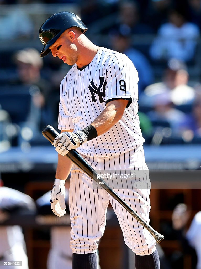 Brett Gardner #11 of the New York Yankees reacts after striking out in the eighth inning against the Tampa Bay Rays at Yankee Stadium on April 24, 2016 in the Bronx borough of New York City.