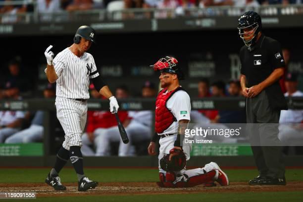Brett Gardner of the New York Yankees reacts during the MLB London Series game between Boston Red Sox and New York Yankees at London Stadium on June...