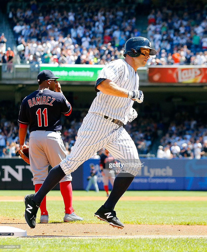 Brett Gardner #11 of the New York Yankees runs the bases after his first inning two run home run against the Cleveland Indians at Yankee Stadium on August 22, 2015 in the Bronx borough of New York City. The Yankees defeated the Indians 6-2.
