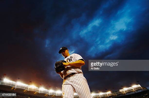 Brett Gardner of the New York Yankees walks back to the dugout between innings against the Texas Rangers during their game at Yankee Stadium on May...
