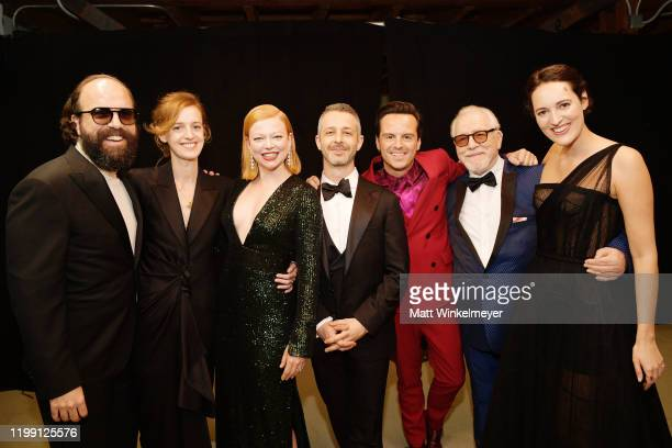 Brett Gelman Isobel WallerBridge Sarah Snook Jeremy Strong Andrew Scott Brian Cox and Phoebe WallerBridge pose in the press room during the 25th...