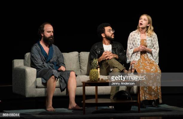 Brett Gelman Justice Smith and Tavi Gevinson perform during 24 Hour Plays on Broadway at American Airlines Theatre on October 30 2017 in New York City