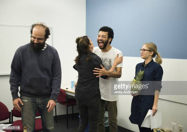 Brett Gelman Michelle Gomez Justice Smith and Tavi Gevninson in rehearsal for 24 Hour Plays on Broadway at American Airlines Theatre on October 30...
