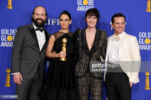 Brett Gelman Sian Clifford Phoebe WallerBridge and Andrew Scott winners of Best Television Series Musical or Comedy poses in the press room during...