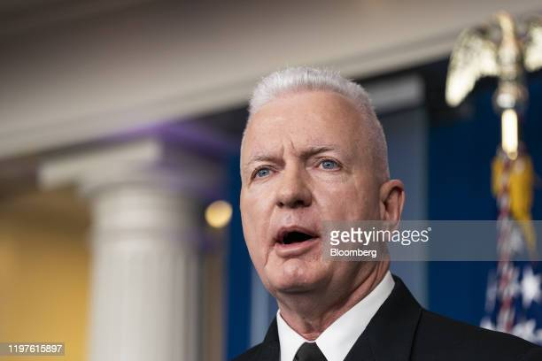 Brett Giroir assistant secretary for public health speaks during a news conference in the briefing room of the White House in Washington DC US on...