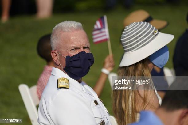 Brett Giroir US assistant secretary for health wears a protective mask while attending the Salute to America event on the South Lawn of the White...