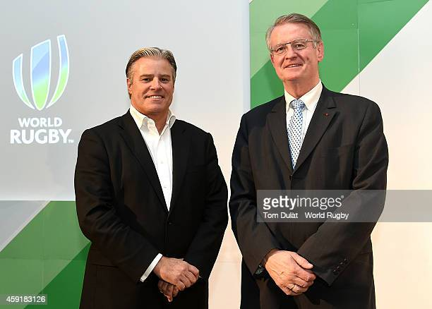 Brett Gosper CEO of the International Rugby Board and Chairman of iRB Bernard Lapasset pose for photos during the iRB World Rugby Conference and...