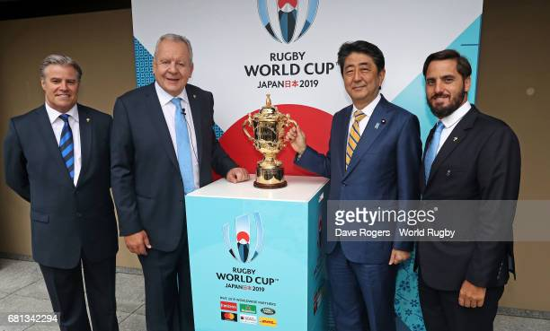 Brett Gosper CEO of World Rugby via Getty Images Bill Beaumont Chairman of World Rugby via Getty Images Shinzo Abe Prime Minister of Japan and...
