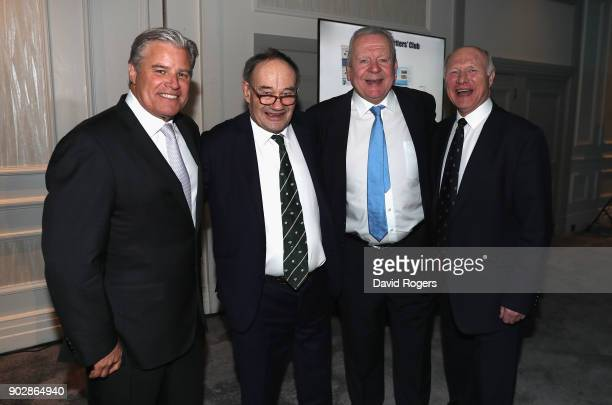 Brett Gosper CEO World Rugby Michael Harrison chairman of Wharfedale rugby Club Bill Beaumont chairman of World Rugby and John Spencer RFU president...