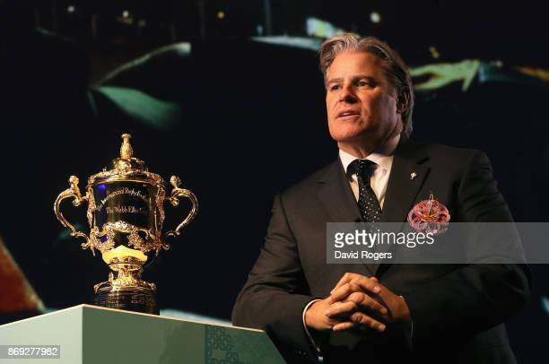 Brett Gosper the CEO of World Cup looks on during the Rugby World Cup 2019 match schedule announcement at Grand Prince Hotel Shin Takanawa on...