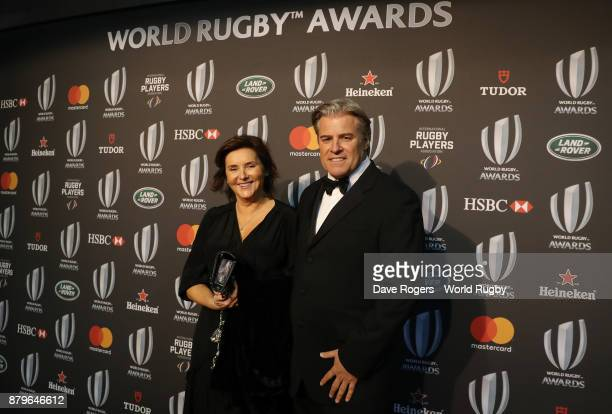 Brett Gosper the World Rugby CEO and guest attend the World Rugby Awards 2017 in the Salle des Etoiles at MonteCarlo Sporting Club on November 26...