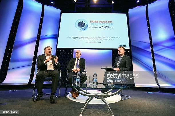 Brett Gosper World Rugby CEO and Brian Cookson UCI President speak during the Sport Industry Breakfast Club powered by CWM FX on March 17 2015 in...