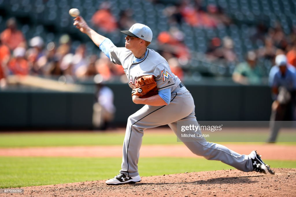 Brett Graves #53 of the Miami Marlins pitches in his Major League debut in the ninth inning during a baseball game against the Baltimore Orioles at Oriole Park at Camden Yards on June 17, 2018 in Baltimore, Maryland.