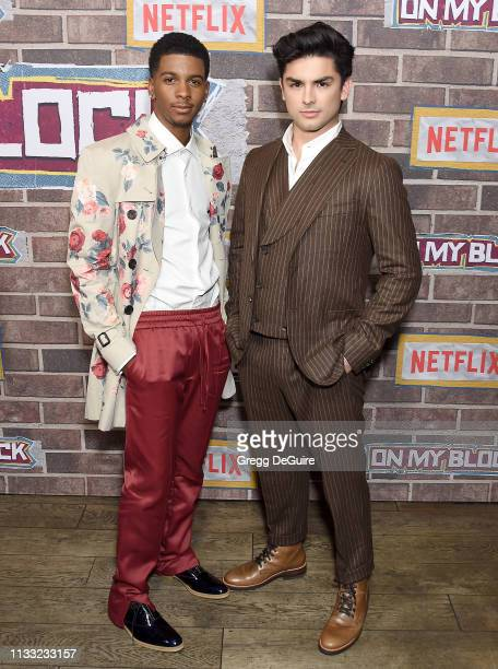 """Brett Gray and Diego Tinoco arrive at the Premiere Of Netflix's """"On My Block"""" Season 2 at Petty Cash Taqueria on March 27, 2019 in Los Angeles,..."""