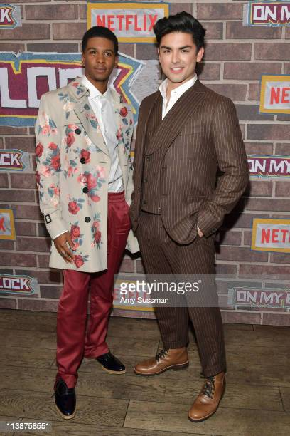 """Brett Gray and Diego Tinoco attend premiere of Netflix's """"On My Block"""" Season 2 at Petty Cash Taqueria on March 27, 2019 in Los Angeles, California."""