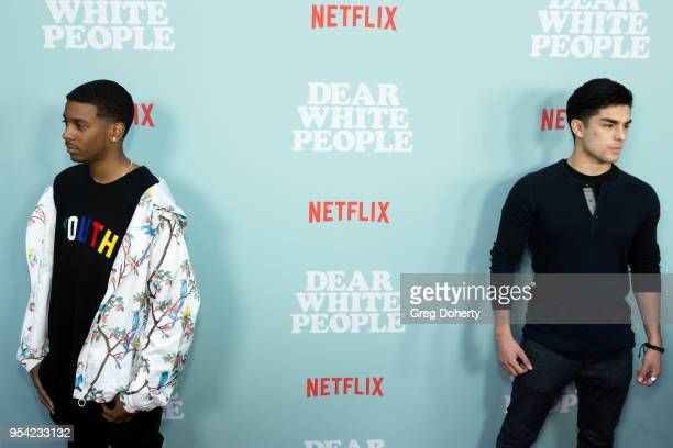 """Brett Gray and Diego Tinoco attend the """"Dear White People"""" Season 2 Special Screening on May 2, 2018 in Hollywood, California."""