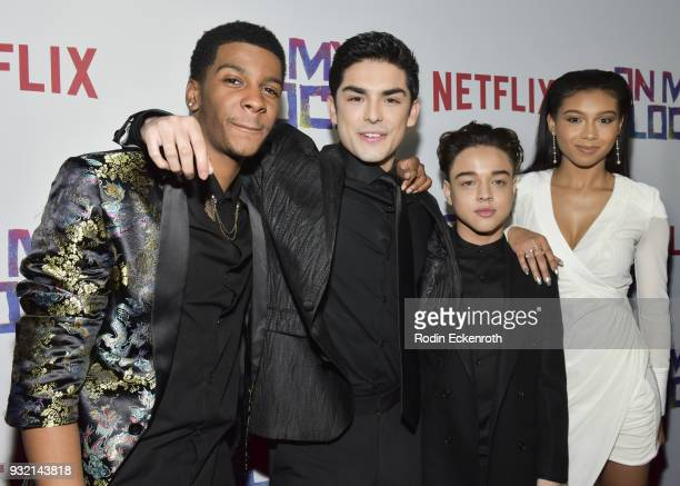 Brett Gray Diego Tinoco Jason Genao and Sierra Capri arrive at the premiere of Netflix's On My Block at NETFLIX on March 14 2018 in Los Angeles...