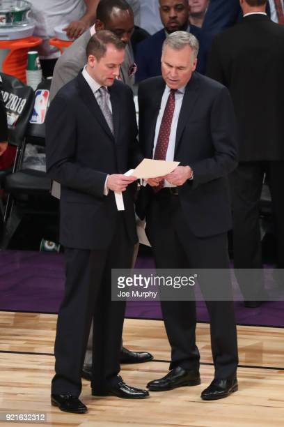Brett Gunning and Mike D'Antoni review materials during the NBA AllStar Game as a part of 2018 NBA AllStar Weekend at STAPLES Center on February 18...