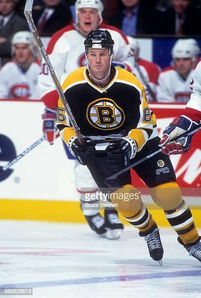 Brett Harkins of the Boston Bruins skates on the ice during an NHL game against the Montreal Canadiens on January 11 1997 at the Bell Centre in...