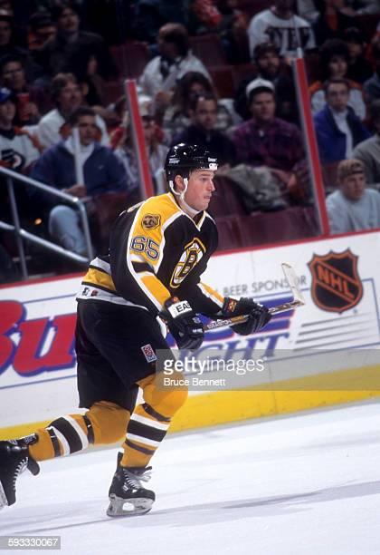 Brett Harkins of the Boston Bruins skates on the ice during an NHL game against the Philadelphia Flyers on December 15, 1996 at the Wells Fargo...
