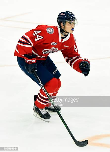 Brett Harrison of the Oshawa Generals skates against the Mississauga Steelheads during game action on October 25, 2019 at Paramount Fine Foods Centre...