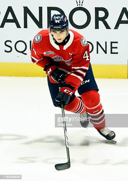 Brett Harrison of the Oshawa Generals skates in warmup prior to a game against the Mississauga Steelheads on October 25, 2019 at Paramount Fine Foods...