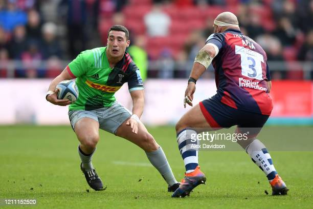 Brett Herron of Harlequins is tackled by John Afoa of Bristol Bears during the Gallagher Premiership Rugby match between Bristol Bears and Harlequins...