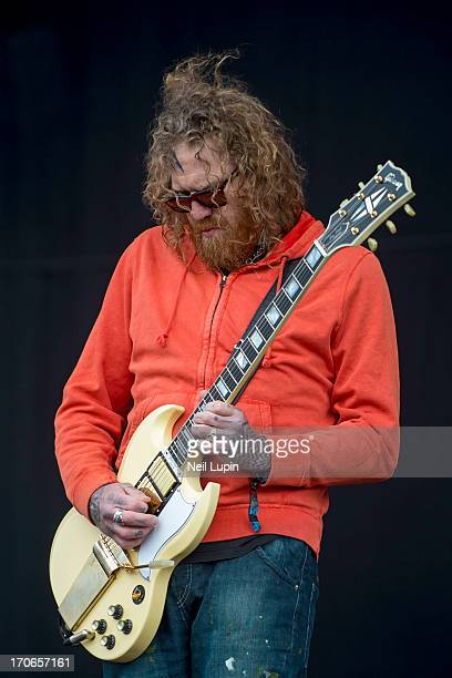 Brett Hinds of Mastodon performs on stage on Day 2 of Download Festival 2013 at Donnington Park on June 15 2013 in Donnington England
