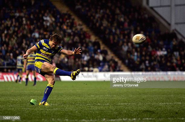 Brett Hodgson of Warrington kicks the match winning conversion during the Engage Super League match between Warrington Wolves and Hull KR at the...