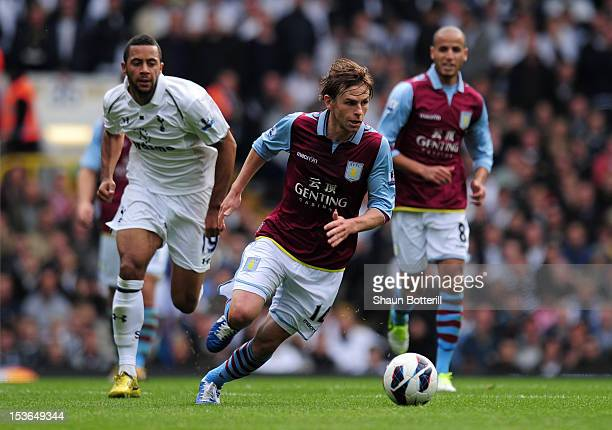 Brett Holman of Aston Villa breaks with the ball during the Barclays Premier League match between Tottenham Hotspur and Aston Villa at White Hart...