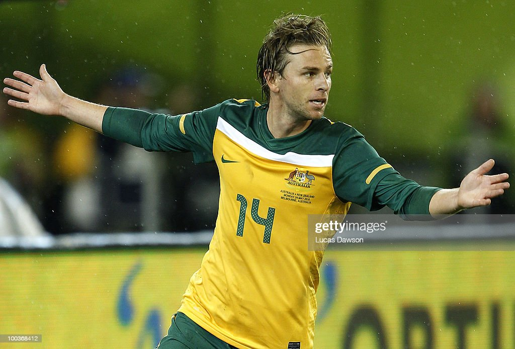 Brett Holman of Australia celebrates a goal during the 2010 FIFA World Cup Pre-Tournament match between the Australian Socceroos and the New Zealand All Whites at Melbourne Cricket Ground on May 24, 2010 in Melbourne, Australia.