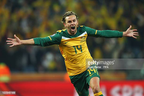 Brett Holman of Australia celebrates scoring during the 2010 FIFA World Cup South Africa Group D match between Australia and Serbia at Mbombela...